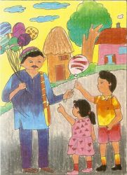 balloon seller by Urmi Patel (Om drawing classes)