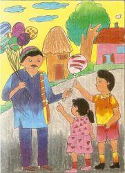 balloon seller by Urmi Patel (Om drawing classes)
